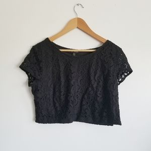 Express lace zipper side crop top